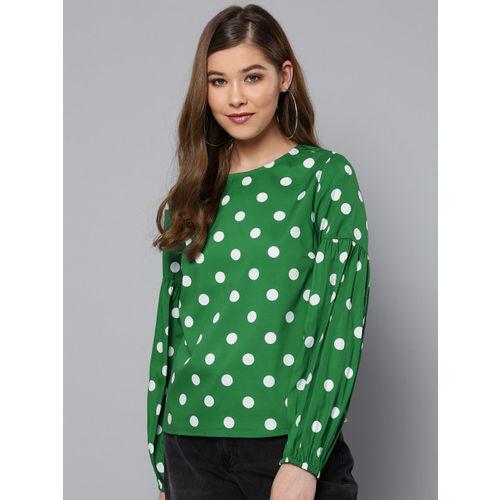 Harpa Women Green & White Printed Top