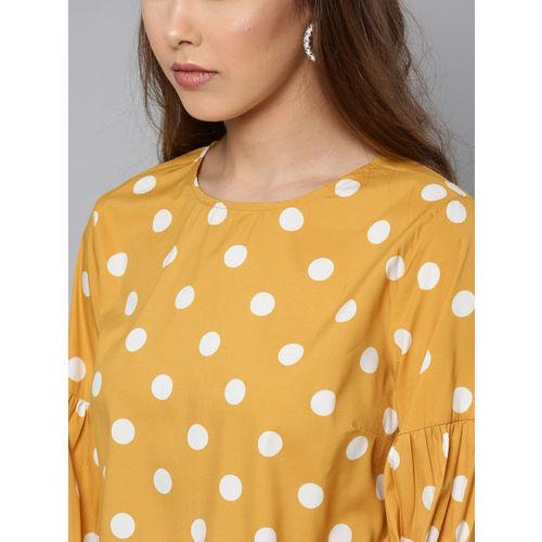 Harpa Women Mustard Yellow & White Printed Top