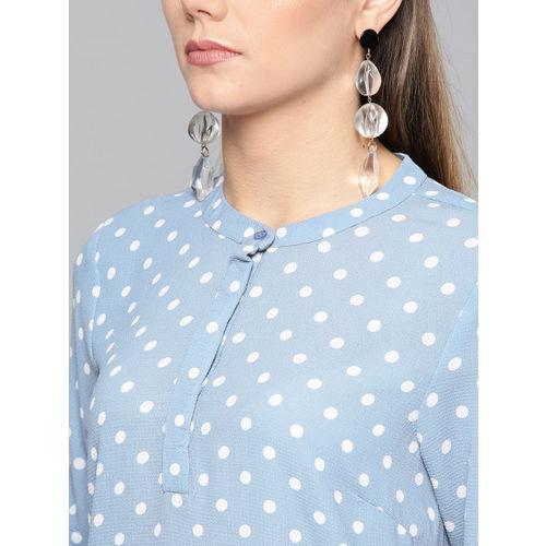 Harpa Women Blue & White Printed Shirt Style Top
