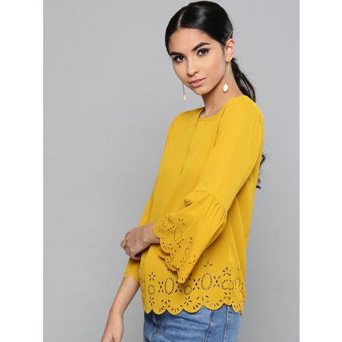 Harpa Women Mustard Yellow Solid Top