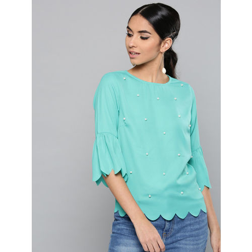 Harpa Women Sea Green Embellished Top