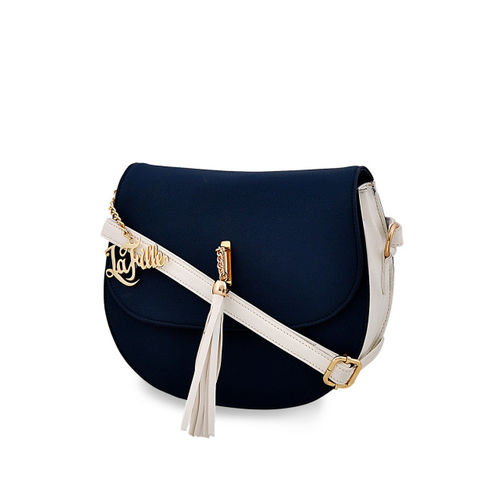 LaFille Blue Solid Sling Bag