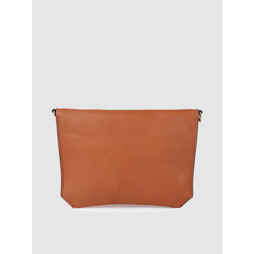 Allen Solly Tan Brown & Yellow Colourblocked Sling Bag