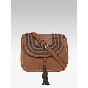 DOROTHY PERKINS Brown Solid Sling Bag with Braided Detail