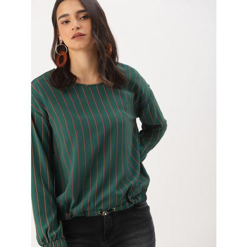 DressBerry Women Green & Red Striped Blouson Top