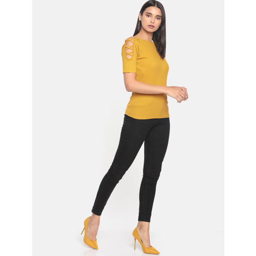 DressBerry Women Mustard Yellow Solid Fitted Top
