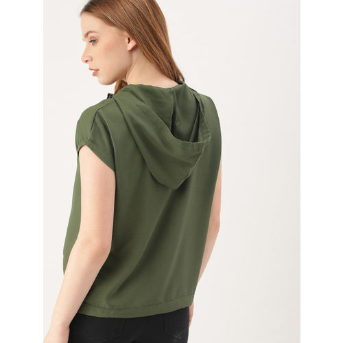 DressBerry Women Olive Green Solid Hooded Top