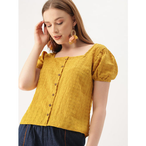 DressBerry Women Mustard Yellow Self Design Top