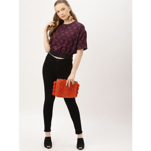 DressBerry Women Black Printed Blouson Top