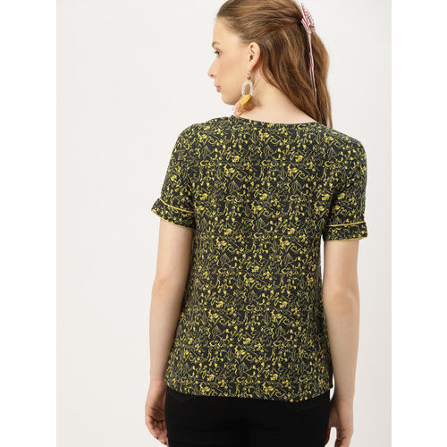 DressBerry Women Black & Lime Green Printed High-Low Top