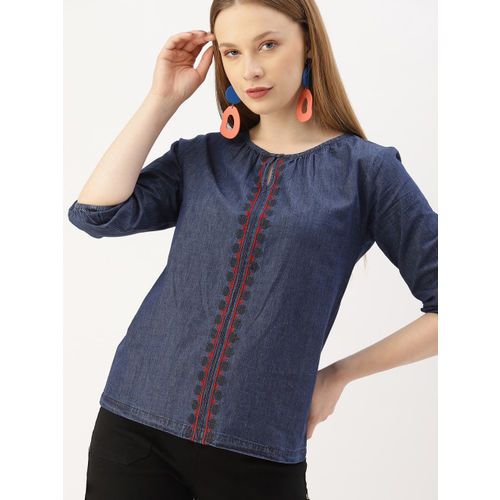 DressBerry Women Navy Blue Embroidered Top