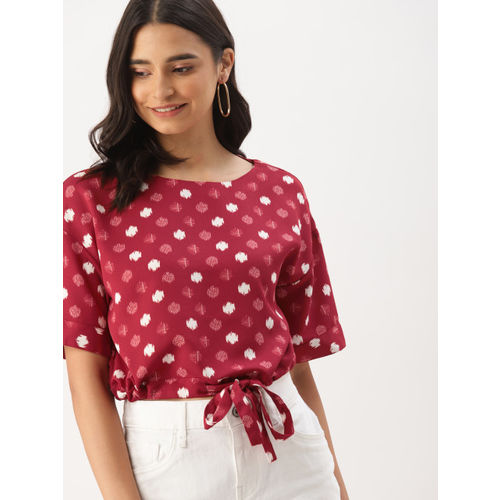 DressBerry Women Red & White Printed Crop Top