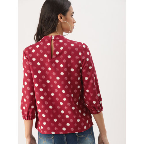 DressBerry Women Red & White Printed Top