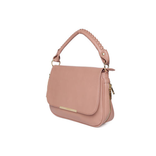 DressBerry Dusty Pink Solid Satchel Bag