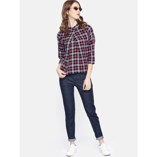 Roadster Women Navy Blue & White Checked Top
