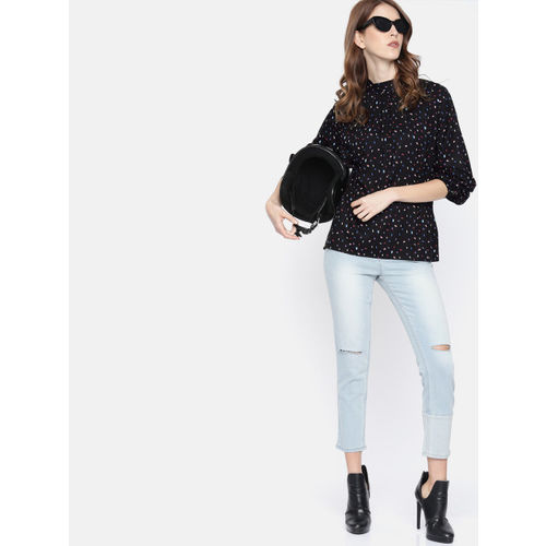 Roadster Women Black Printed Top