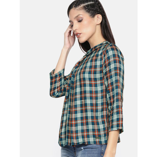 Roadster Women Teal Blue & Coral Orange Checked Top