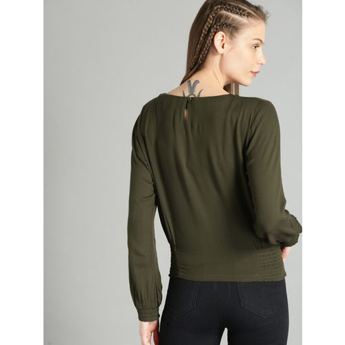 Roadster Women Olive Green Solid Blouson Top