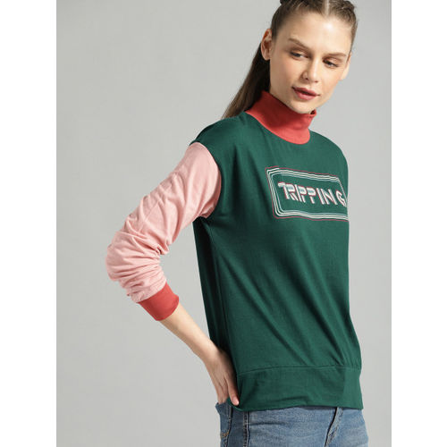 Roadster Women Green Printed Top