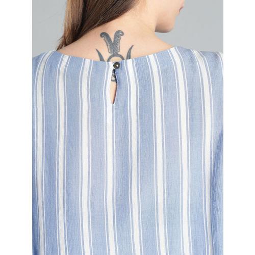 Roadster Women Blue & White Striped Blouson Top