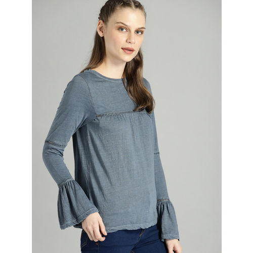 Roadster Women Blue Solid Cut Out Detail Top