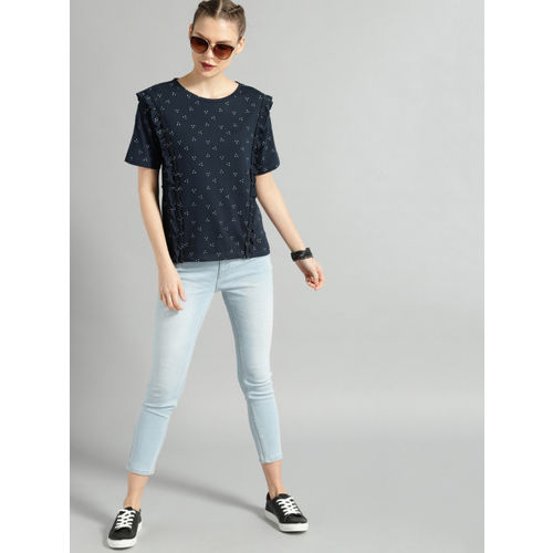 Roadster Women Navy Blue & White Printed Knitted Top