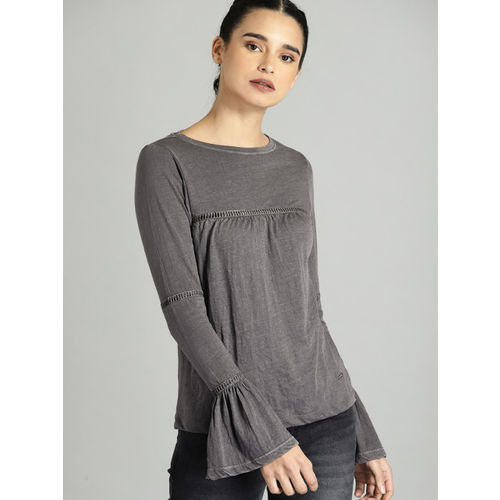 Roadster Women Charcoal Grey Solid Cut Out Detail Top