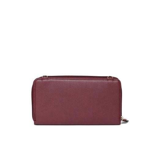 Lavie Women Burgundy Solid Zip Around Wallet