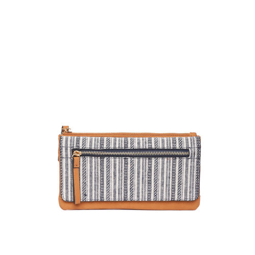 Accessorize Women Off-White & Navy Blue Self-Striped Two Fold Wallet