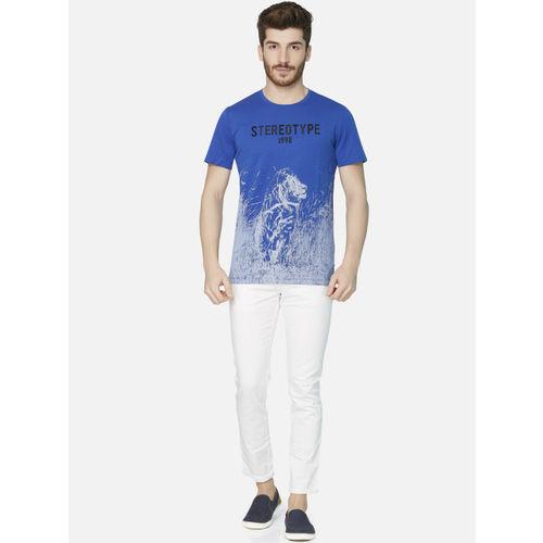 KOZZAK Men Blue Printed Round Neck Slim-Fit T-shirt