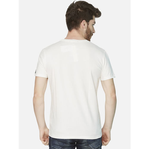 KOZZAK Men White Printed Slim Fit Round Neck T-shirt