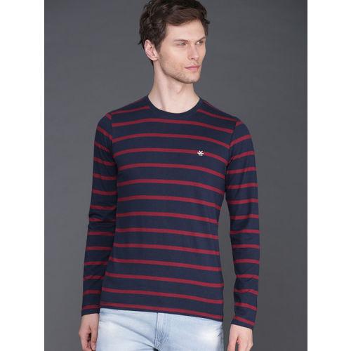 WROGN Men Navy Blue & Maroon Slim Fit Striped Round Neck T-shirt