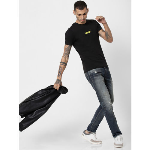 Jack & Jones Men Black Solid Round Neck T-shirt