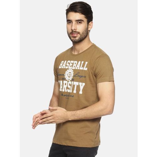 Masculino Latino Men Khaki & White Printed Round Neck T-shirt
