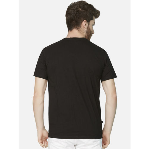 KOZZAK Men Black & Red Printed Slim Fit Round Neck T-shirt