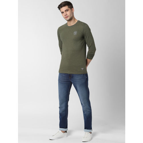 Peter England Casuals Men Olive Green Solid Round Neck T-shirt
