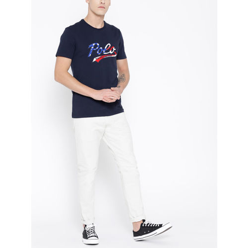 Polo Ralph Lauren Men Navy Blue Custom Slim Fit Printed Round Neck T-shirt