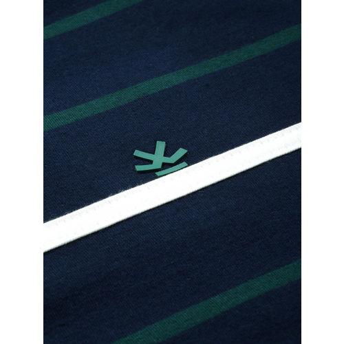 WROGN Men Navy Blue & Green Striped Round Neck T-shirt