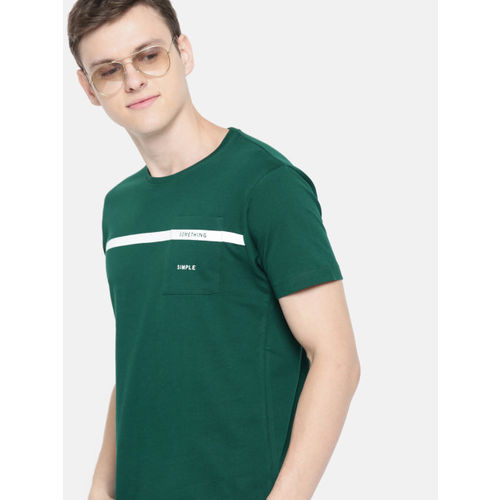 Mast & Harbour Men Green Solid Round Neck T-shirt