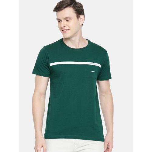 Mast & Harbour Men Green Solid Round Neck T-shirt