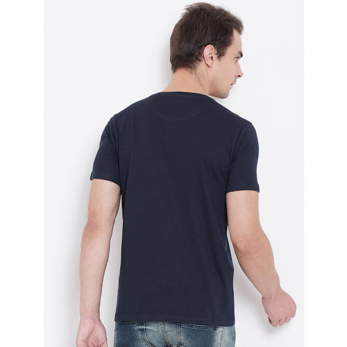 Wear Your Mind Men Navy Blue Printed Round Neck T-shirt