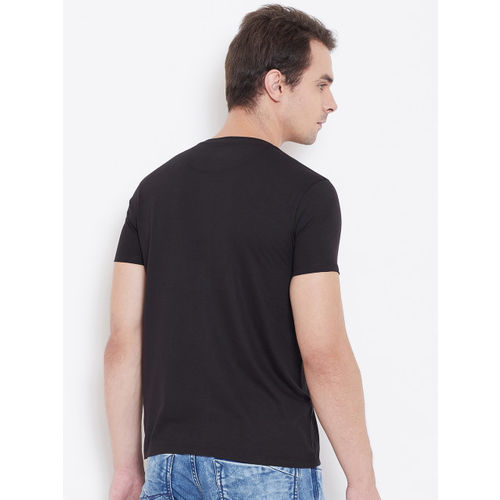 Wear Your Mind Men Black & Pink Printed Round Neck T-shirt