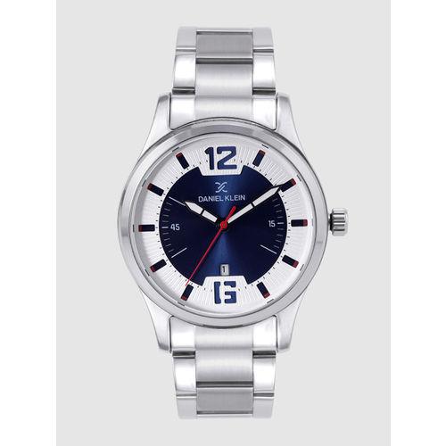 Daniel Klein Premium Men Navy Blue & Silver-Toned Analogue Watch DK12166-3
