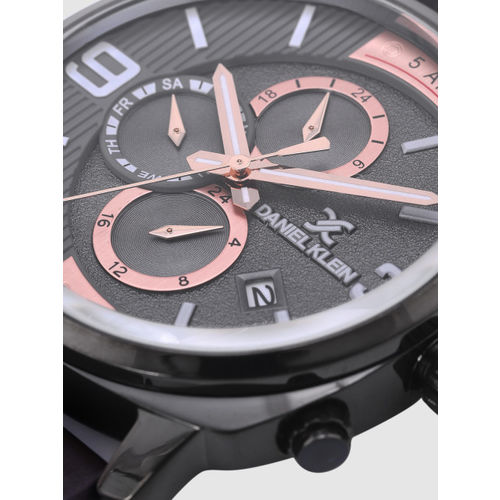 Daniel Klein Exclusive Men Charcoal Grey Chronograph Watch DK12174-6