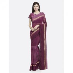 Shaily Magenta Striped Pure Cotton Saree