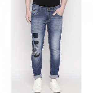 BOLTS and BARRELS Men Blue Slim Fit Low-Rise Mildly Distressed Stretchable Jeans