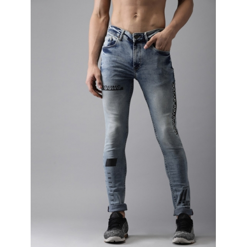 Moda Rapido Men Blue Skinny Fit High-Rise Clean Look Stretchable Printed Jeans