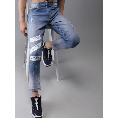 Moda Rapido Men Blue Slim Tapered Fit Mid-Rise Low Distress Stretchable Cropped Jeans