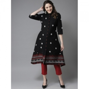 HERE&NOW Black & Off-White Woven Design A-Line Kurta