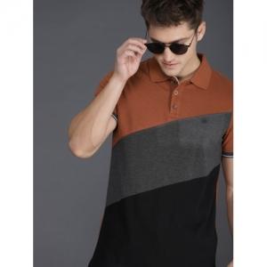 WROGN Men Rust Brown & Black Colourblocked Slim Fit Polo Collar T-shirt
